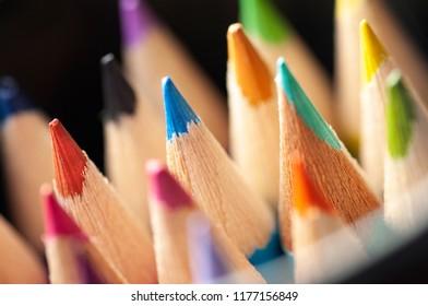 Color pencils color, Close up, back to school, art