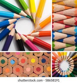 color pencils, collage