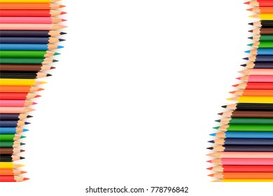 Color pencils with copy space isolated on white background