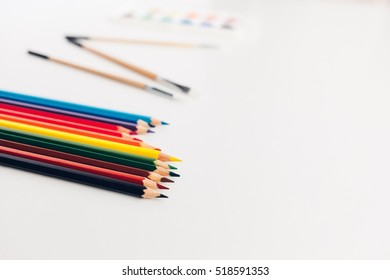 Color pencils directed to the space for your advertisement