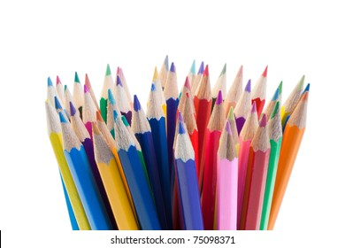 Color pencils gathering on a white background