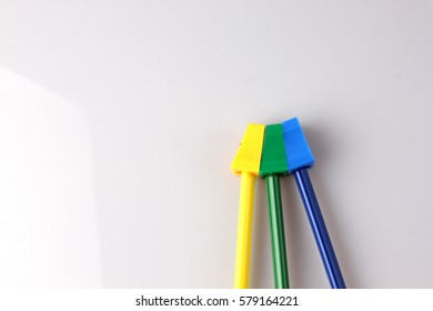 Color Pencils isolated on black back ground