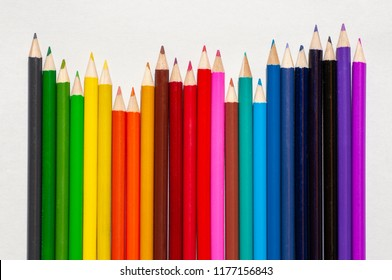 Color pencils isolated on white background, Close up