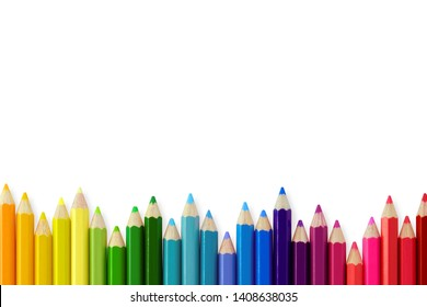 Color pencils isolated on white background, Close up, copy space