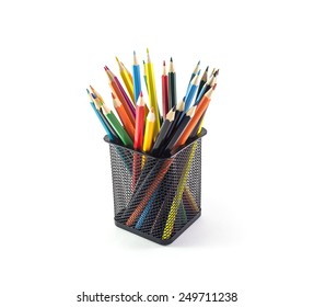 Color pencils isolated on white background, selective focus