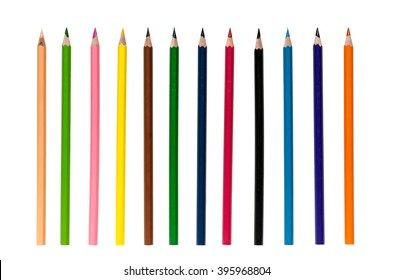 Color pencils isolated on white background close up with Clipping path.Beautiful color pencils.Color pencils for drawing.