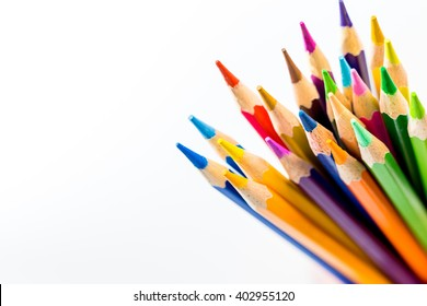 Color pencils isolated on white background - soft focus