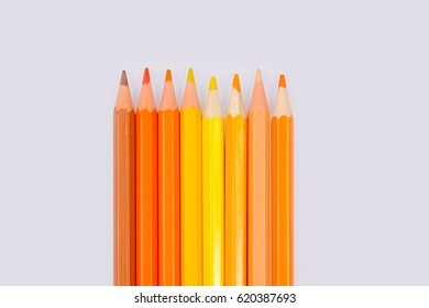 Color pencils isolated on white background professionally