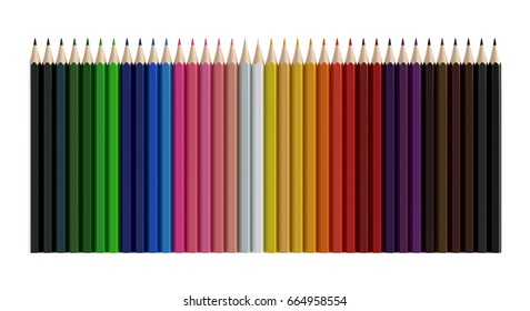 Color pencils isolated on white background, 3D rendering