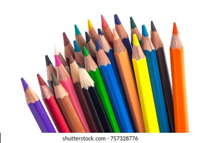 Color pencils isolated on a white background.