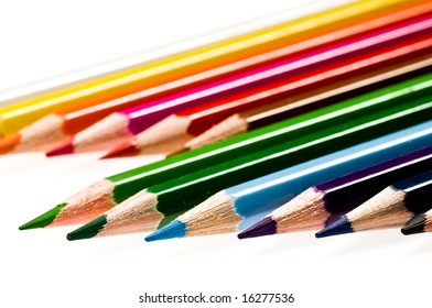 Color pencils  isolated over white background