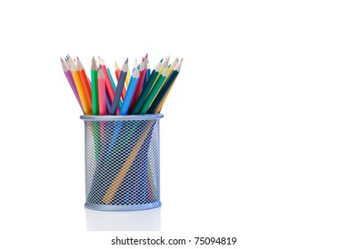 Color pencils in a jar on a white background