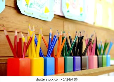 Color pencils in kindergarten