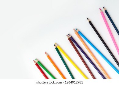 color pencils on isolated white background