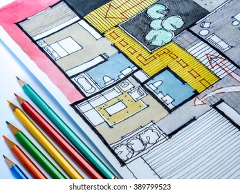 Color pencils on watercolor and ink freehand sketch drawing of home floor plan / Real estate business & architecture house furnishing decoration design concept