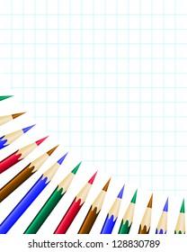 Color Pencils on white background, illustration format.