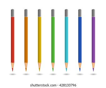 Color pencils on white background. Realistic illustration