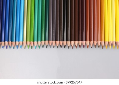 Color pencils on white background, isolated