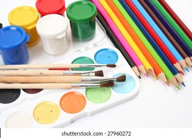 Color pencils and paints