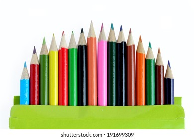 Color pencils set on white background