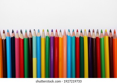 Color pencils set, row wooden color pencils isolated on white background. colored pencils for drawing. copy space.