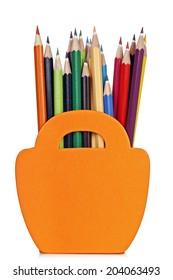 color pencils in wooden basket-shaped pencil case