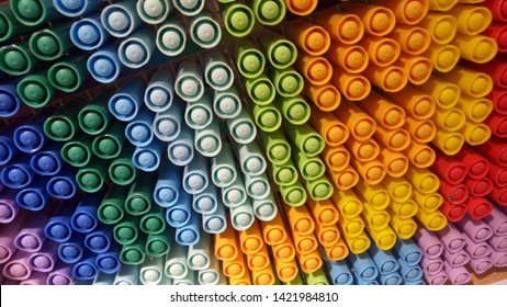 Color pens stored on the shelves make a beautiful art - Shutterstock ID 1421984810