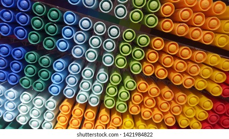 Color pens stored on the shelves make a beautiful art - Shutterstock ID 1421984822