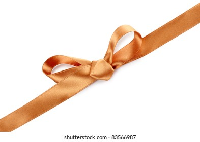Color photo of a bow on gold ribbon