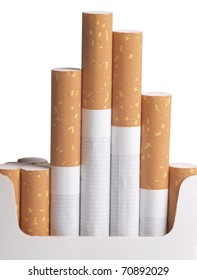Color photo of a cardboard packet and filter cigarettes