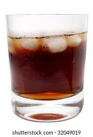 Color photo of the drink with ice in a glass
