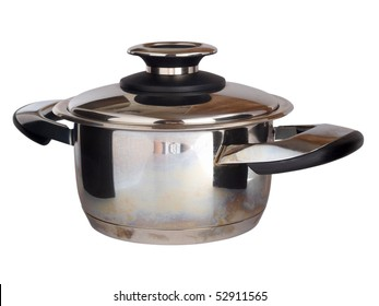 Color photo of a metal pan. Isolated object on a white background