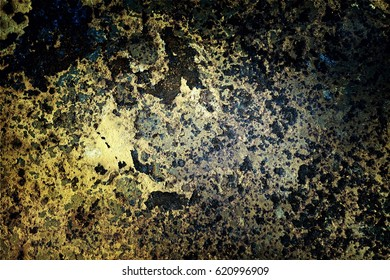 Color photo of metal surfaces with rust and paint