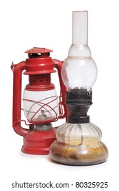 Color photo of an old kerosene lamps