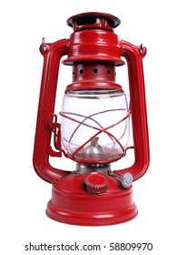 Color photo of an old red kerosene lamp on a white background