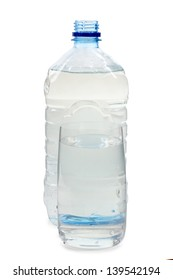 Color photo of a plastic water bottle