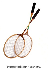 Color photo of two rackets for badminton