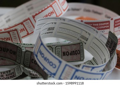 Color photo of unrolled raffle tickets