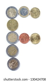 Color photograph of alphabet of euro coins