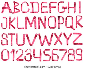 Color photograph of alphabet of red tape