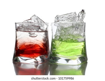 Color photograph of cocktails in glass beakers