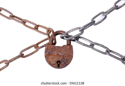 Color photograph of iron chain and padlock