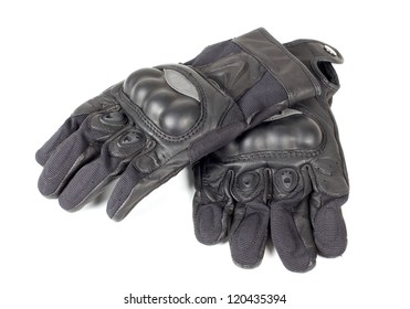 Color photograph of leather motorcycle gloves