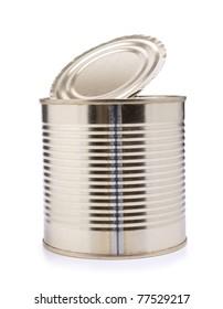 Color photos of empty metal tin