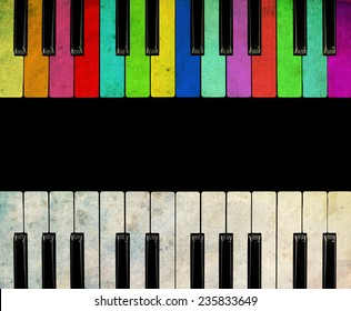 Color Piano isolated on black background