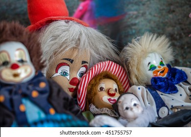 Color picture of clown puppets close-up