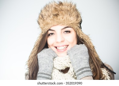 Color picture of a winter portrait of a beautiful young woman