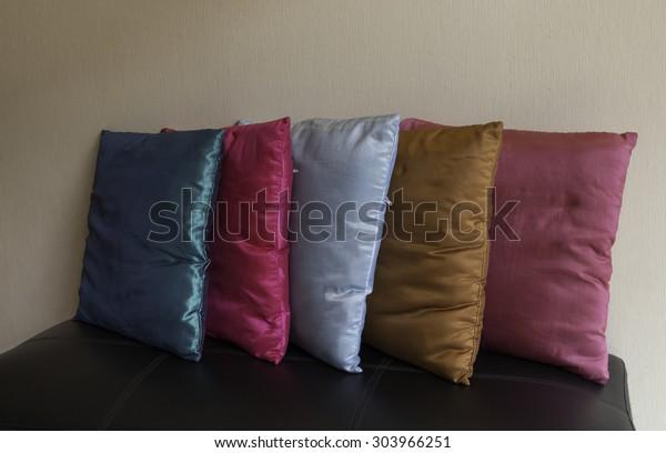 Admirable Color Pillow On Black Sofa Stock Photo Edit Now 303966251 Machost Co Dining Chair Design Ideas Machostcouk
