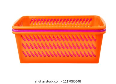 Color plastic basket, isolated on white background