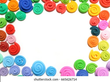 Color plasticine. Creative. Color plasticine on a white background